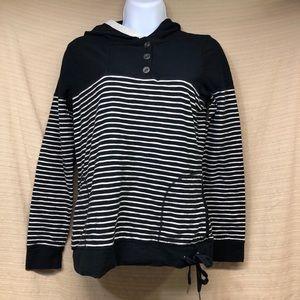 Ralph Lauren Striped Drawstring Hood Shirt Buttons